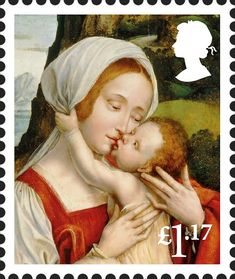 "Reino Unido. Royal Mail. Serie: Christmas 2017. Tema: ""VIRGIN MARY AND CHILD"". Autor: Quinten Massys. El cuadro original se encuentra expuesto en Real Monasterio de San Lorenzo del Escorial (Madrid)."