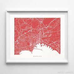 Map posters by Inkist Prints! Modern Naples Italy street map print in 70 different colors, perfect for anyone who loves to travel or is away from home. Map Wall Art, Map Art, Wall Art Prints, Naples Italy, Italy Street, Europe Street, Watercolor Map, Italian Art