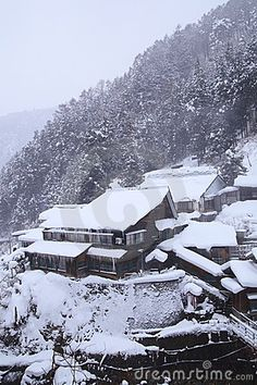Yudanaka Hot spring resort in snow, Jigokudani, Nagano, Japan  © Norikazu