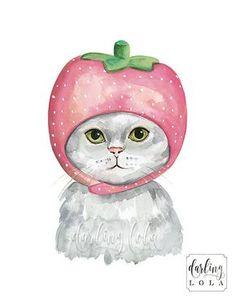 Cat Watercolor Print - Strawberry Cat - Cat Art - Animal Art - Cat Painting - Nursery Art