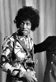 October Influential rock guitarist, singer and songwriter Jimi Hendrix - holds an award which he has just received from Radio One DJ Jimmy Savile. (Photo by Express/Express/Getty Images) Jimi Hendrix Experience, Woodstock, Beatles, Jimi Hendricks, Blues, Best Guitar Players, Psychedelic Music, Janis Joplin, Rock Music
