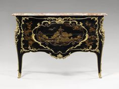Lacquered Commode, made for the private cabinet of Marie Leszczynska, Queen of France, 1737 by Bernard van Risenburgh (Louvre Museum) Oriental Furniture, French Furniture, Miniature Furniture, Antique Furniture, Painted Furniture, Furniture Design, Luis Xiv, Louvre Paris, Antique Cabinets
