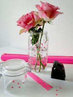 DIY neon pink polkadot vases - love!