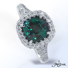 JB Star This elegant Platinum ring showcases a stunning certified Natural Alexandrite center with Blue, Green, Purple and Red hues embraced with micro pave.
