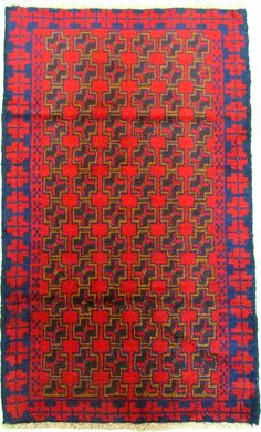 Red 2' 9 x 4' 6 Balouch Rug   Area Rugs   eSaleRugs