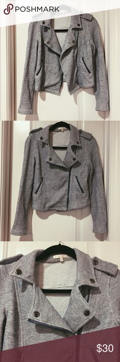 Gray cotton moto jacket Super cute cotton knit moto jacket. Stretchy and very comfy. Kind of feels like a sweater. Has 2 zip pockets. EUC. Easy to throw on with jeans! 80% cotton, 20% polyester Under Skies Jackets & Coats