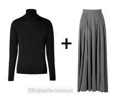с чем носить длинную юбку зимой и водолазка