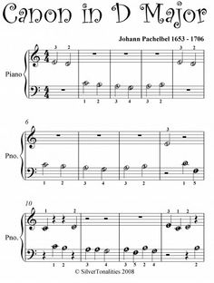 Canon in D Pachelbel Beginner Piano Sheet Music - Kindle edition . Easy Violin Sheet Music, Piano Sheet Music Letters, Easy Piano Songs, Music Sheets, Beginner Piano Lessons, Beginner Piano Music, Music Lessons, Art Lessons, Piano Classes