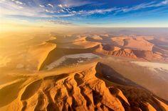 Bird's Eye View of Namib Desert at Sunrise, Namibia by James Gradwell Desert Photography, Sunrise Photography, Photography Tours, Seychelles, National Geographic, Beautiful Places, Beautiful Pictures, Namib Desert, Birds Eye View
