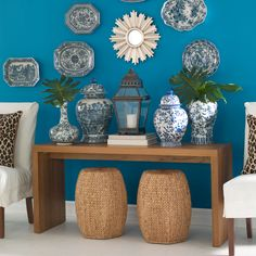 Your accessories deserve a fitting backdrop! #blue #accentwall #interiordesign