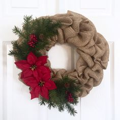Christmas Wreath, Burlap Wreath, Poinsettia Wreath, Red and Green, Holiday Wreath, Nature Wreath, Pine Cones, Greenery Wreath, Red Berries by JennysWreathBoutique on Etsy https://www.etsy.com/listing/489934081/christmas-wreath-burlap-wreath