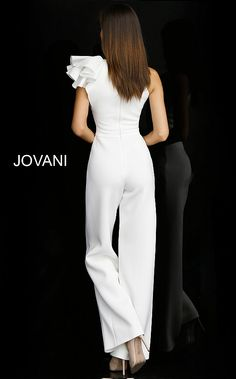 White scuba bridal jumpsuit features straight leg pants and fitted sleeveless bodice with ruffle detail on one shoulder and close back. Informal Wedding Dresses, Simple Wedding Gowns, Informal Weddings, Prom Jumpsuit, Wedding Jumpsuit, Fairy Wedding Dress, Sheath Wedding Gown, Different Dresses, Nice Dresses
