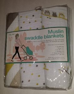 Muslin Swaddle Blankets 3 pack - Stripes/Polka Dots/Owls - Lollypop by Lollypop  Price: $39.31 Free Ship...
