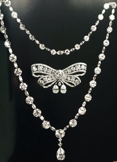 Diamond necklace and brooch. The former is c.1919 the latter c.1910. Princess Christopher of Greece! the former Mrs Nancy Leeds.