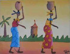 Toujours dans un décor type d'un village africain, l'artiste présente deux femmes revenant de la rivière, l'une  porte une calebasse  et l'autre une cruche pleine d'eau sur la tête. La première, habillée en pagne multicolore sur un fond bourgogne avec des fleurs jaunes, d'une blouse bleue et d'un foulard également jaune sur la tête,  son bébé attaché sur son dos  avec un pagne jaune. La deuxième  qui la suit, porte un pagne bleu avec des motifs rectangulaires, une blouse jaune assortie d'un…