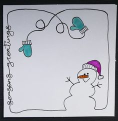 Easy and Fun Christmas Cards for Kids to Make Simple - Snowmen Easy and Fun Christmas Cards for Kids Simple Christmas Cards, Christmas Doodles, Homemade Christmas Cards, Handmade Christmas Gifts, Christmas Art, Holiday Cards, Christmas Cards Handmade Kids, Easy Christmas Drawings, Christmas Greetings