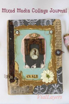 A beautiful vintage photograph of a woman named Eliza was the inspiration behind this collage art journal cover. Created with assorted epehmera and found objects all our journals are truly unique and beautiful gifts. Visit VialLayers at Etsy for more mixed media designs. Notebook Covers, Journal Covers, Mixed Media Collage, Collage Art, Vintage Photographs, Vintage Photos, Handmade Items, Handmade Gifts, Beautiful Gifts
