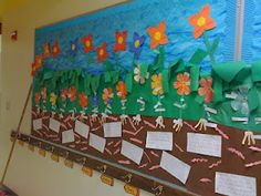 garden display with plant diagrams, fact family flowers, and earthworm writing