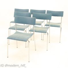 Johannes Foersom for Lammhults Mid Century Campus Stackable Dining Chairs - Set of 6 Each chair measures: 17.75 wide x 18.5 deep x 30 high, with a seat height of 18 inches Each piece of furniture is available in what we call Restored Vintage Condition. Upon purchase it is thoroughly cleaned and minor repairs are made - all of this is done at no additional cost to you, but it will take a bit longer to ship than if you choose not to take this option.