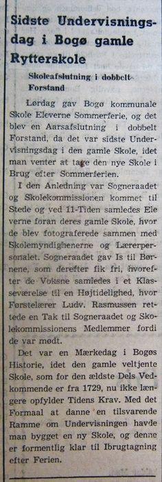 Møns Folkeblad i juli 1952 om lukningen af Rytterskolen og åbningen af den nye kommuneskole. Fra Mia Gerdrups samling.