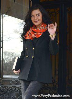 #CatherineZetaJones Wears An Orange Print #Scarf In New York City