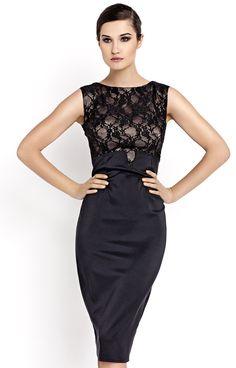 Délicieuse robe à corsage en dentelle et jupe crayon taille haute.