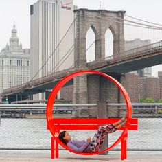 Sculptural park benches and a maze constructed of mirrors are among the pieces created by Danish artist Jeppe Hein for an outdoor exhibition in New York