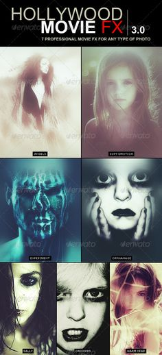 Hollywood Movie FX 3.0 | 7 Amazing Efects  #GraphicRiver              Hollywood Movie FX 3 .0 It's the 3rd of a powerful set of movie actions for Photoshop.  7 amazing and professional Movie effects for your Photos Have fun applying this FX to your pictures Works with any