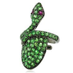 1.53 ct Tsavorite .925 Sterling Silver Snake Style Nail Ring Women Gift Jewelry #Handmade #Designer
