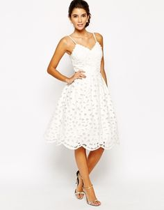 Chi Chi London | Chi Chi London Full Prom Skater Dress With Embroidered Daisy Hem at ASOS