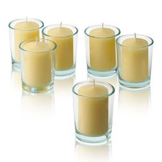 Light Ivory Unscented votive candles with Clear Round Votive Candle Holders