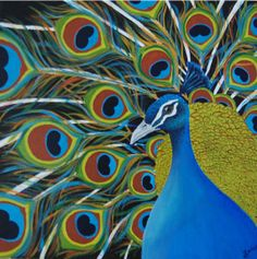 Original Acrylic Painting Peacock by ExcuseMeIArted on Etsy, $164.00