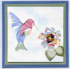 An iris folded hummingbird and flower. Iris Folding is a very simple art that involves an opening in a card, such as the fl. Iris Folding Templates, Iris Paper Folding, Iris Folding Pattern, Paper Cards, Folded Cards, Iris Flowers, Paper Flowers, Dishcloth Knitting Patterns, Knit Dishcloth
