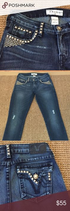 """PRVCY: PREMIUM STUDDED SKINNY JEANS SIZE W 27"""" AWESOME PRVCY: Couture premium silver studded stretch skinny jeans. Logo dull silver metal-closure & black embroidery stitching on the back pockets. 74% cotton, 26% elastane-P, machine washable in cold water inside out . Inseam 30"""", waist 27"""" . Minor Fraying at the hemline. Just a super cool fitting unique skinny jeans. EXCELLENT CONDITION ( All the movie star's wear them ) ! PRVCY Jeans Straight Leg"""