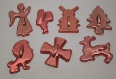 7 Vintage Christmas and more cookie cutters with handles copper-tone aluminum