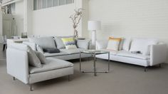 Bemz covers for Söderhamn sofas and seating module. Fabrics: A Paler Shade of Grey and Absolute White in Panama Cotton. Cushion covers from Bemz Artist Series digitally printed collection. www.bemz.com
