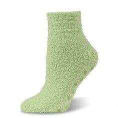 Marshmallow Soft Unisex Eucalyptus Green Microfiber Fuzzy Spa Slipper Socks with Non-skid Grips Crescent. $9.95