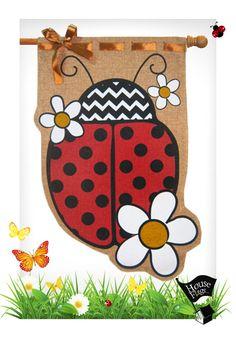 Ladybug Burlap House Flag | Decorative Ladybug Flag | HouseFlags.com