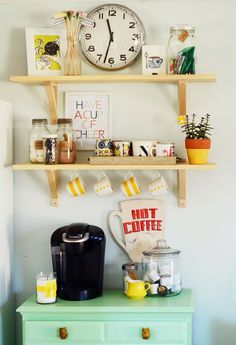 If you're like many of us here at The Kitchn, your day isn't started until you've had your first cup of coffee. That's why we're fully in favor of adding a coffee station to your kitchen, if you have the room. Not only does it help you establish a morning routine, but it streamlines your morning — you won't have to go from the pantry to the dishware cabinet to the coffeemaker — instead everything will be in one place.