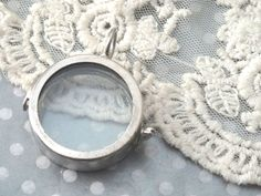 1- Round Glass Locket Small Silver Shadow Box Keepsake Holding Display Pendant 2 Pane Glass Trinket Terrarium Jewelry Supplies Inv0437 by BuyDiy on Etsy