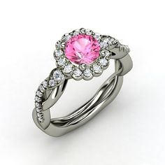 The Lucinda Ring customized in pink sapphire, diamond & white gold