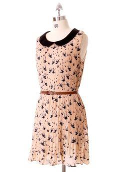 peach peter pan collar dress