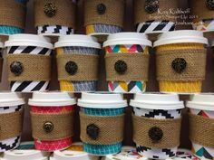 Mini Coffee Cup Treat Holders with a Burlap Ribbon Sleeve Plus a How To Video, Kay Kalthoff, Stamping to Share with Stampin' Up!