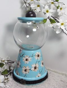 Dogwood by KardavCreations on Etsy...flower pot and fish bowl...with a knob...would be great to make for a candy party!