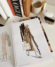 Vintage Fashion Sketches, Vintage Vogue Fashion, Fashion Design Sketchbook, Fashion Design Portfolio, Fashion Design Drawings, Fashion Art, Drawing Fashion, Fashion Books, Fashion Illustration Dresses