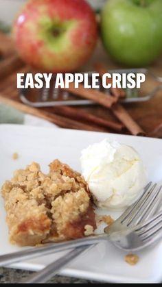 Apple Crisp Easy, Apple Crisp Recipes, Fruit Recipes, Fall Recipes, Low Carb Recipes, Sweet Recipes, Baking Recipes, Apple Cobbler Easy, Apple Crumble Recipe