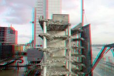 https://flic.kr/p/FMtEmS | Sloop Terraced-tower Rotterdam 3D | anaglyph stereo red/cyan