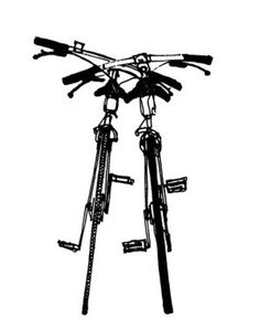 """Simple yet stunning pen and ink drawings from artist Jason Fricke. This is a favorite for any bike enthusiasts! $100 """"Deux Bicyclettes III"""""""