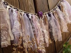 Fabric Ideas Romantic atmosphere VINTAGE Lace Rag Tie Banner Purple Valance Fabric Garland Shabby Chic Wedding L - ❤ ❤ Each is artfully hand made,there will be some minor variations due primarily to VINTAGE fabric Shabby Chic Garland, Lace Garland, Fabric Garland, Romantic Shabby Chic, Shabby Chic Homes, Shabby Chic Decor, Vintage Curtains, Floral Curtains, Vintage Fabrics