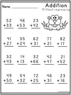 2 Digit Addition without Regrouping Worksheets-Distance Learning Packet addition without gro Math Addition Worksheets, First Grade Math Worksheets, English Worksheets For Kids, Printable Math Worksheets, School Worksheets, 1st Grade Math, Kindergarten Worksheets, Math Exercises, Homeschool Kindergarten